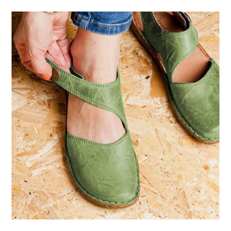 Women Round Toe Sandals Retro Button Sandals