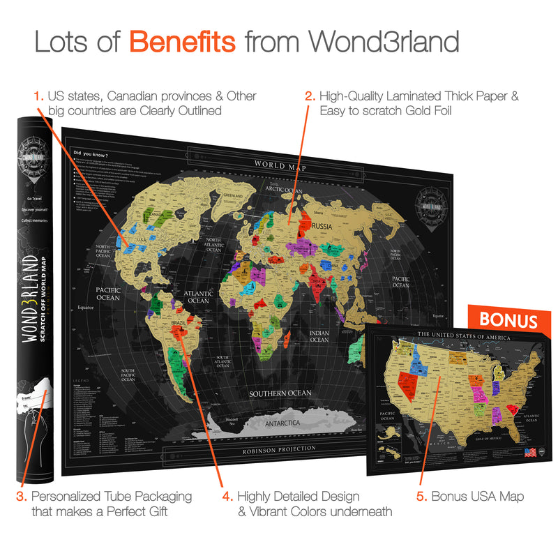 65be516ed0 NEW Wond3rland Premium Scratch Off Map of The World + Bonus USA Map | Gold  Personalized