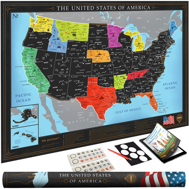 Wond3rland Premium Scratch Off USA Map - Deluxe Gift for Travelers & Travel  Tracking