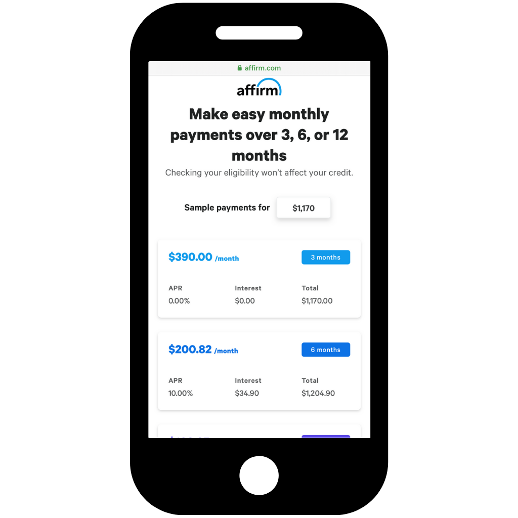Choose how you pay with Affirm