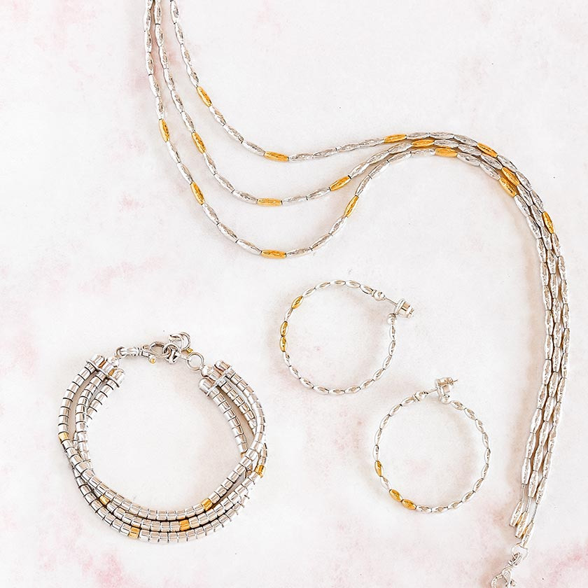 Gurhan sterling silver and gold necklace, earrings and bracelet