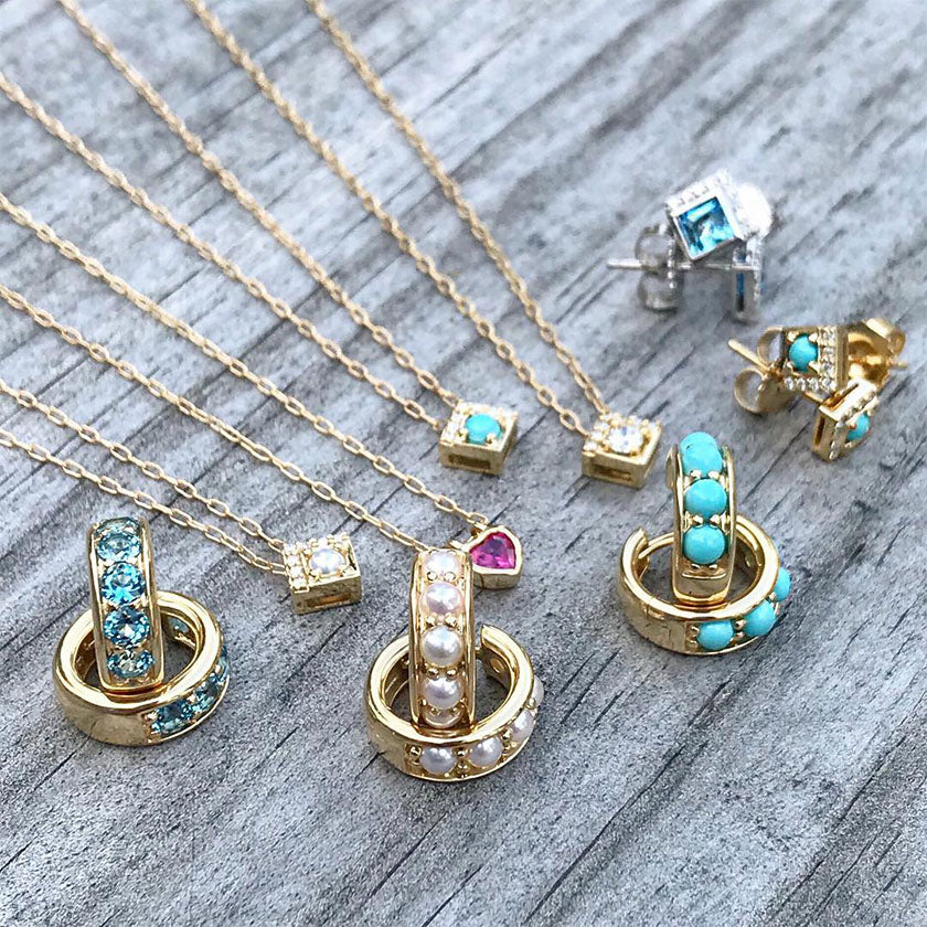 Jane Taylor gemstone huggies and necklaces
