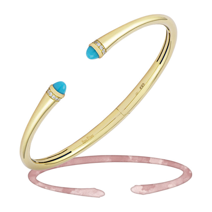 Turquoise and diamond yellow gold cuff