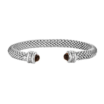 Smokey Quartz & Diamond Sterling Silver Cuff Bracelet
