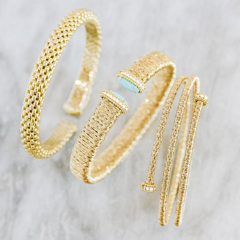 Turquoise Diamonds and gold flexible cuff bracelet