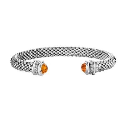 Citrine & Diamond Sterling Silver Cuff Bracelet