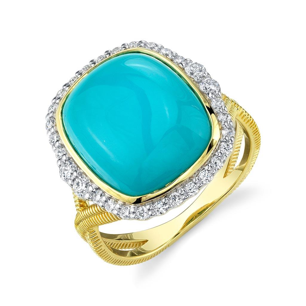 Turquoise and diamond halo cocktail ring