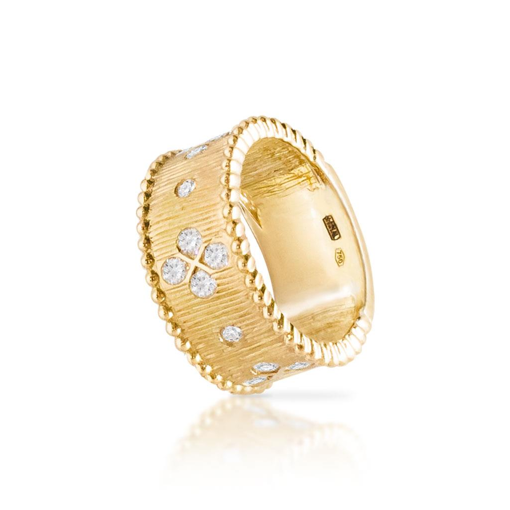 Yellow Gold Diamonds Wide Band Ring