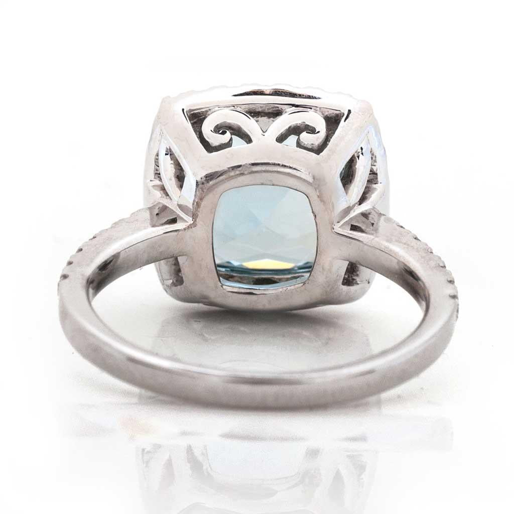 Cushion Cut Aquamarine diamond halo cocktail ring in white gold