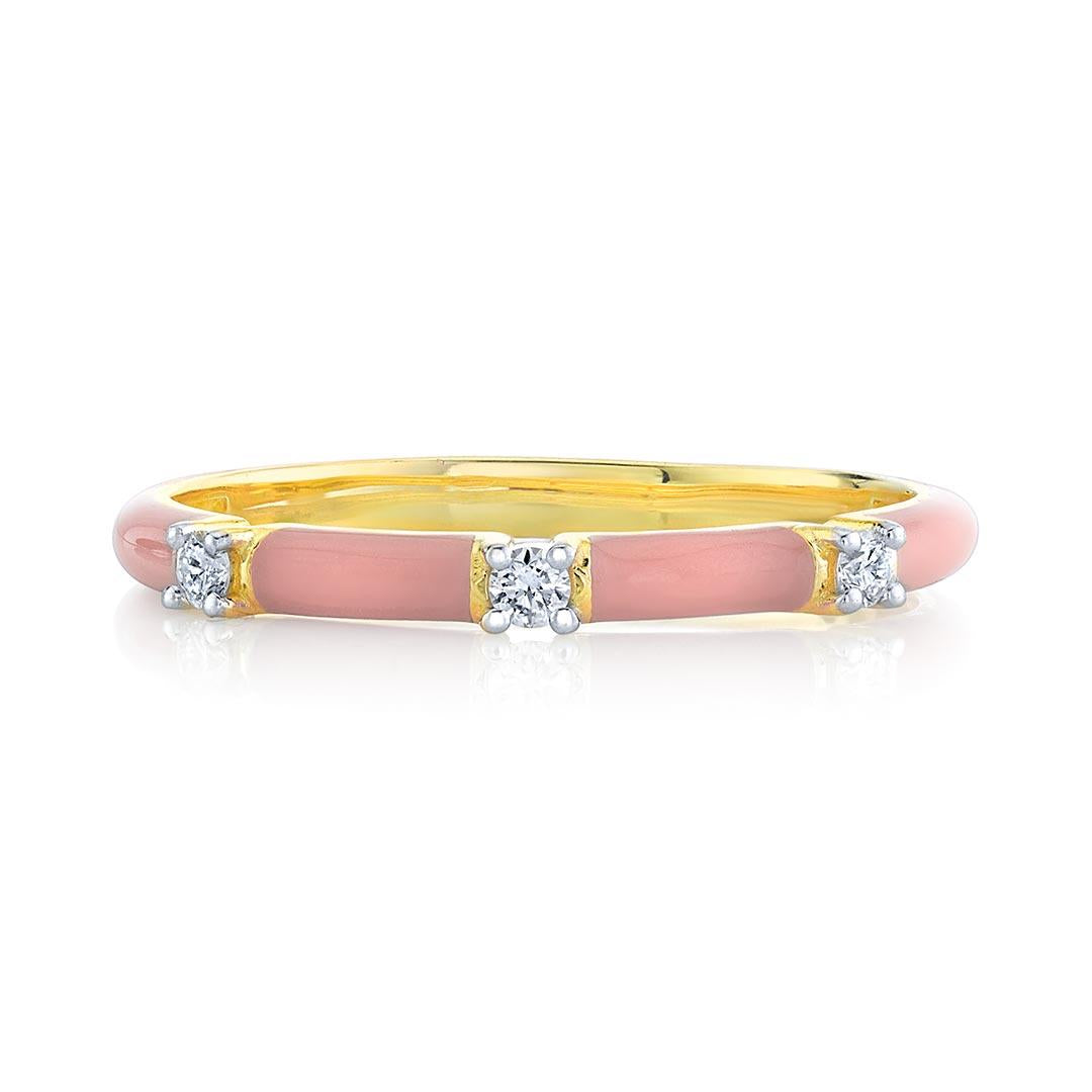 Yellow gold Pink Enamel Diamond band