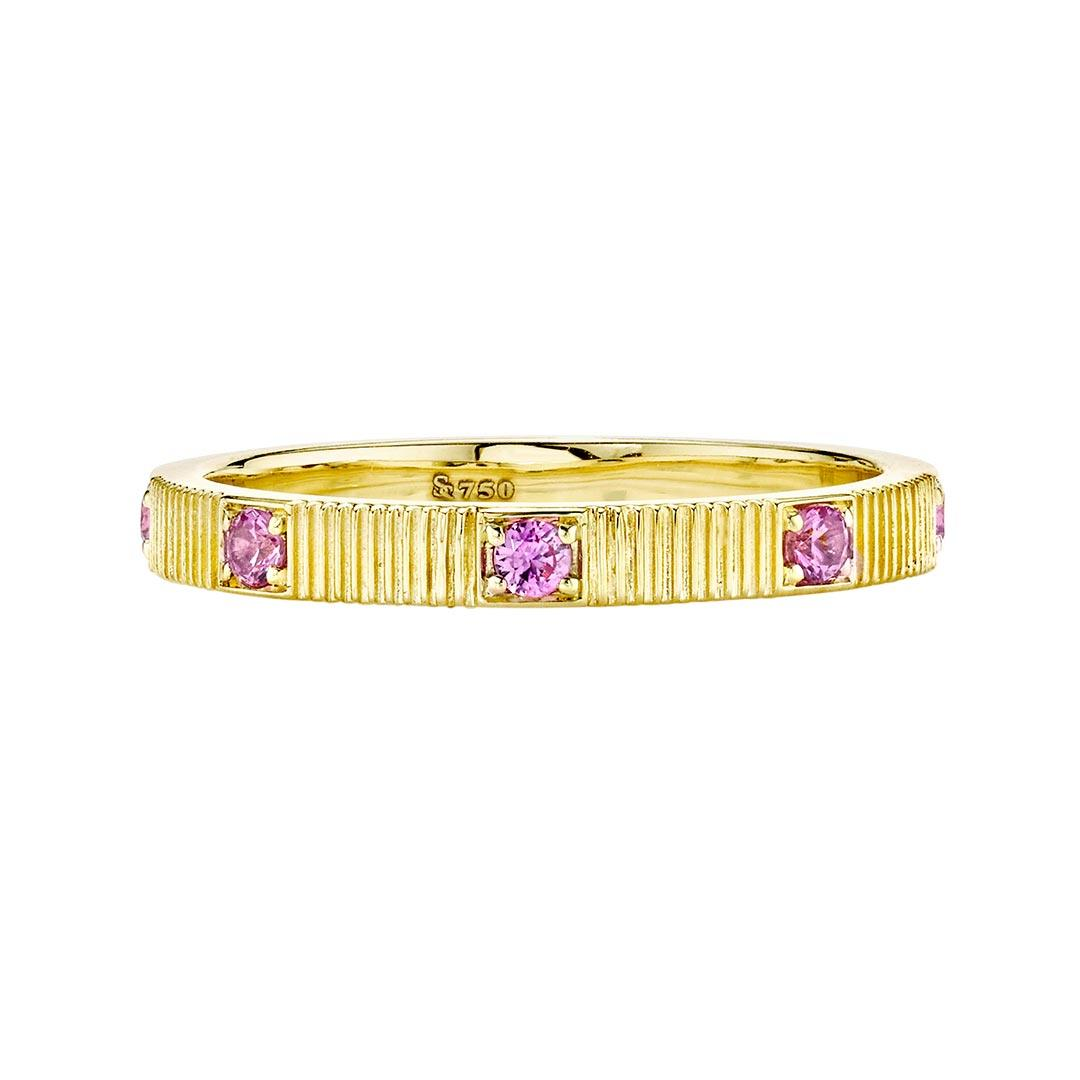 Pink Sapphire and yellow gold stackable ring