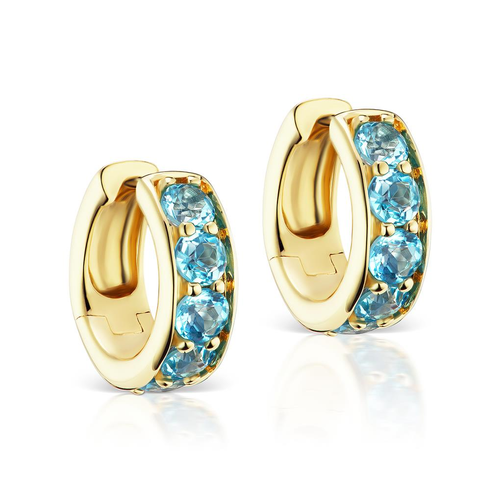 Blue Topaz Yellow Gold Huggie Hoops