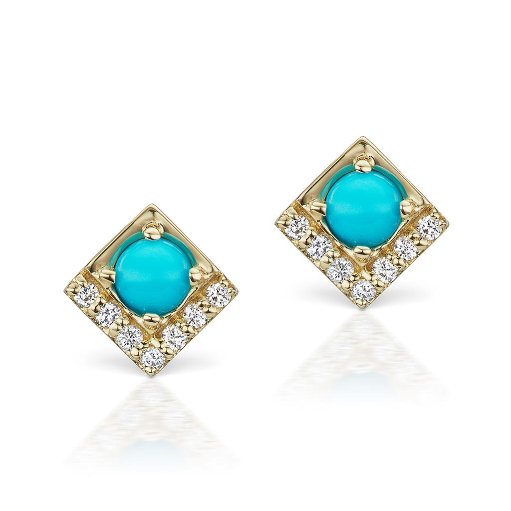 Turquoise & Diamond Square Stud Earrings