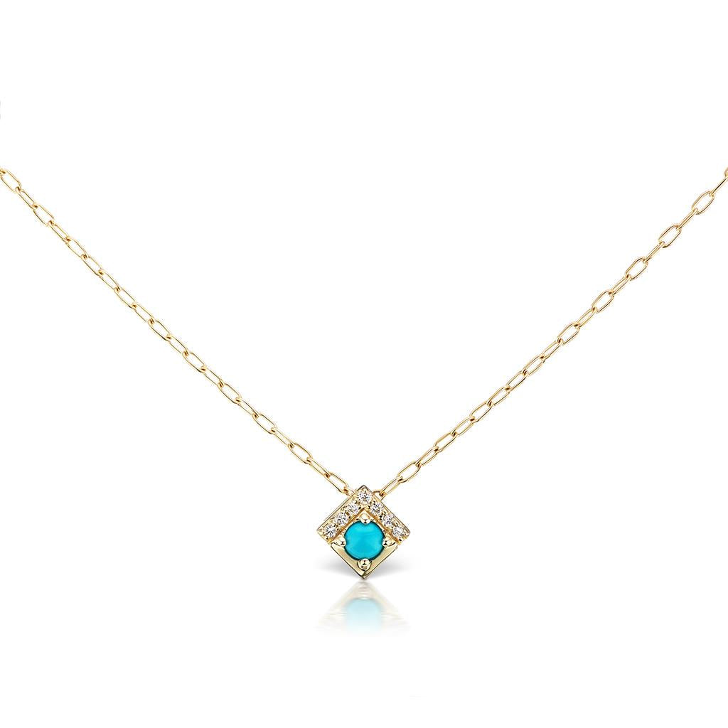 Turquoise & Diamond Yellow Gold Square Necklace