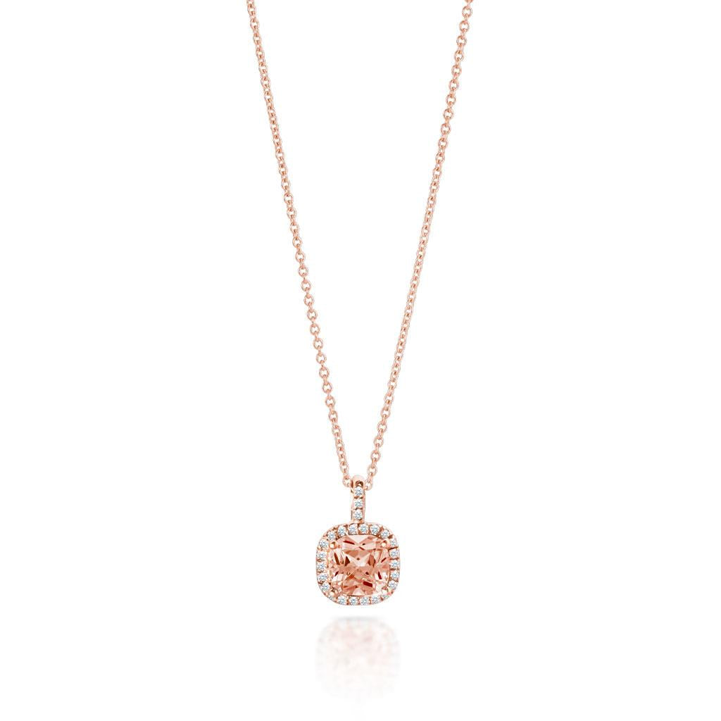 Morganite Diamond Halo Pendant Rose Gold Necklace