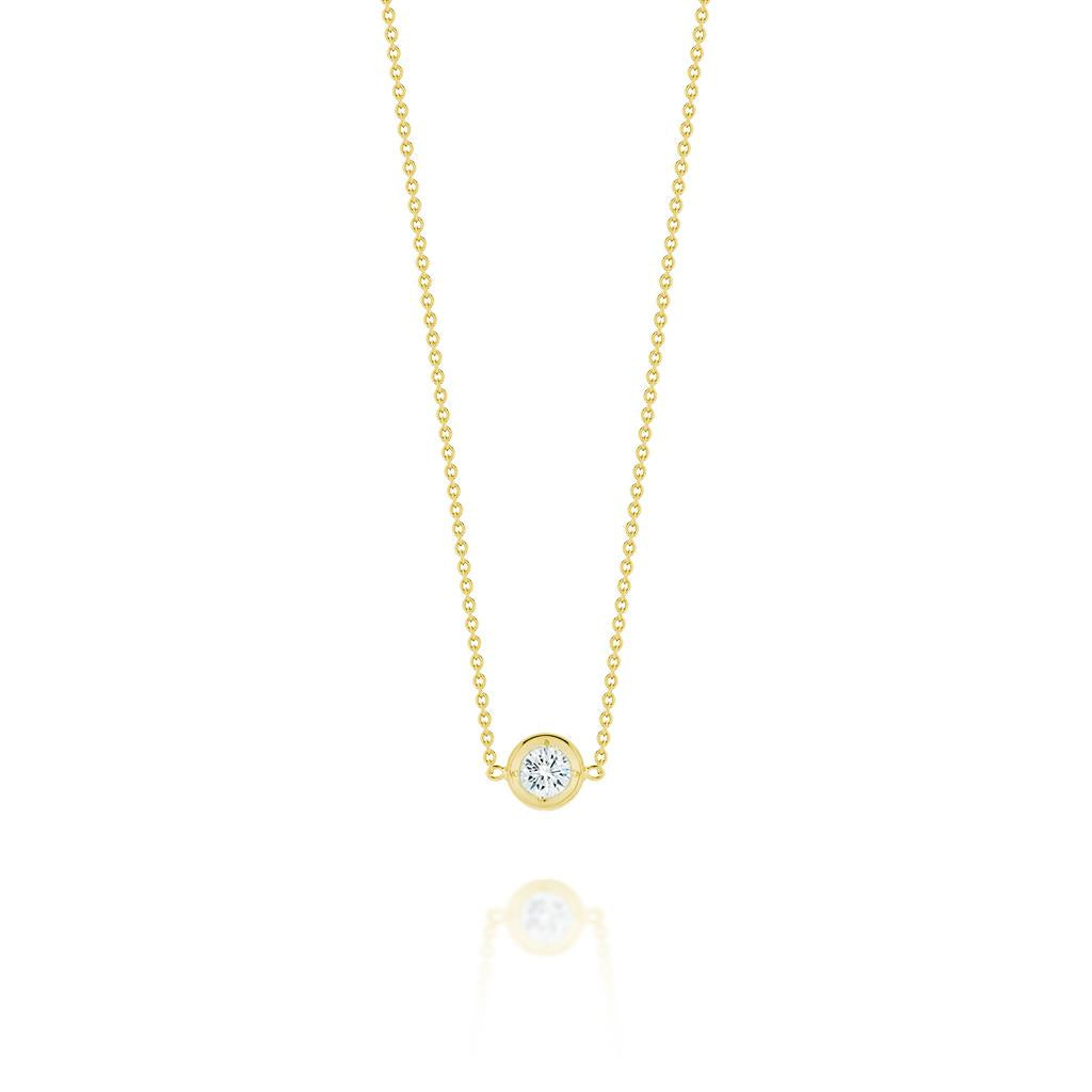 Single Diamond Bezel Set Yellow Gold Necklace