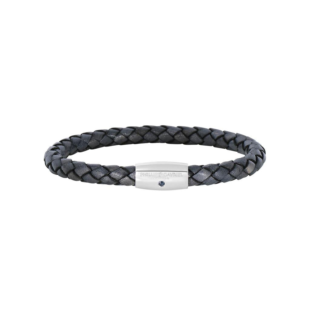 Grey Woven Leather & Sterling Silver Men's Bracelet