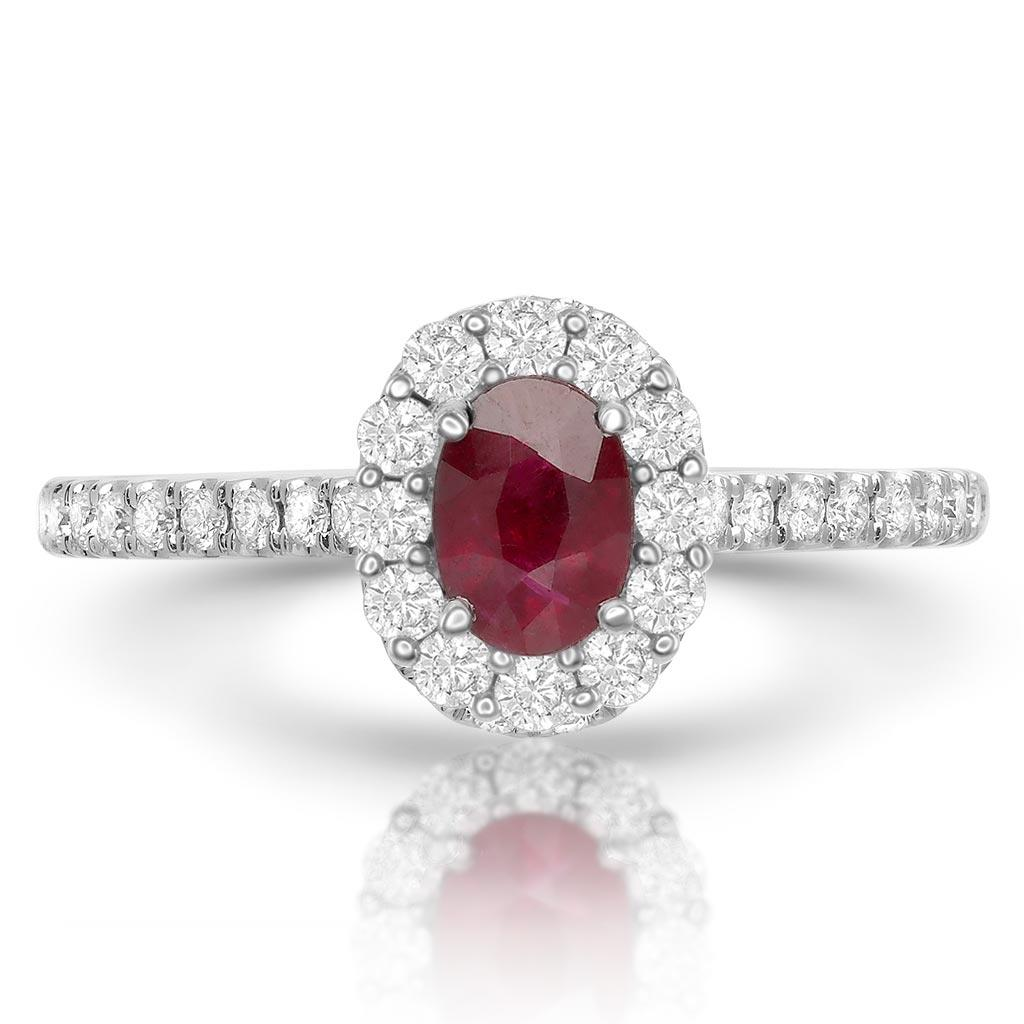 Diamond Halo Oval Ruby Ring