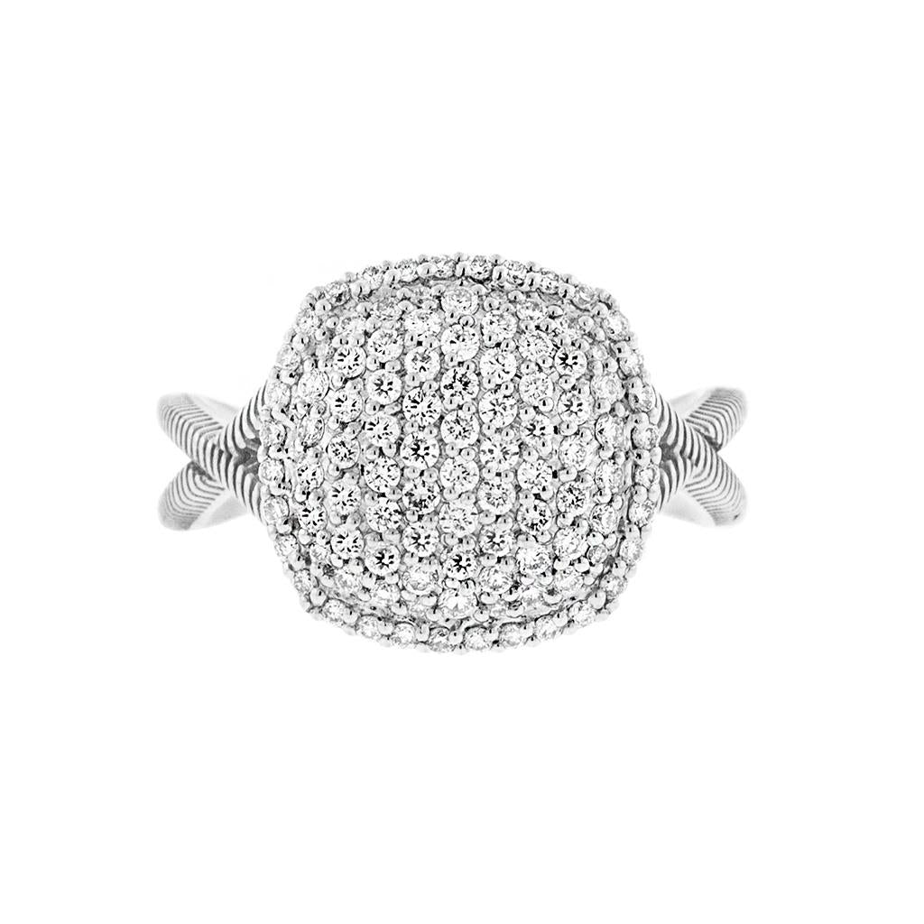Pave Diamond Cushion Ring