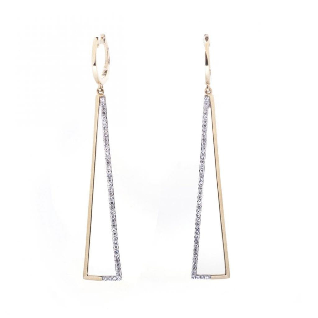 Yellow Gold Diamond Open Triangle Dangle Earrings