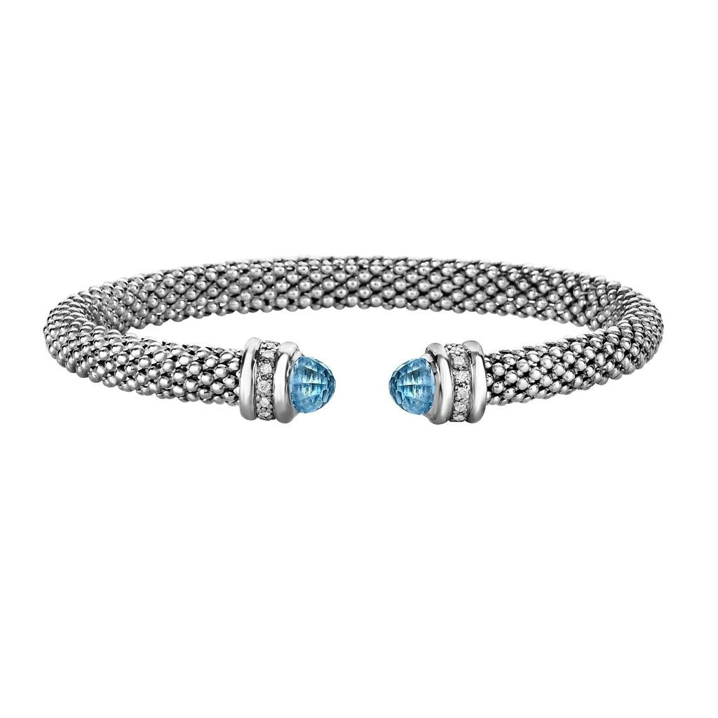 Blue Topaz & Diamond Sterling Silver Cuff Bracelet