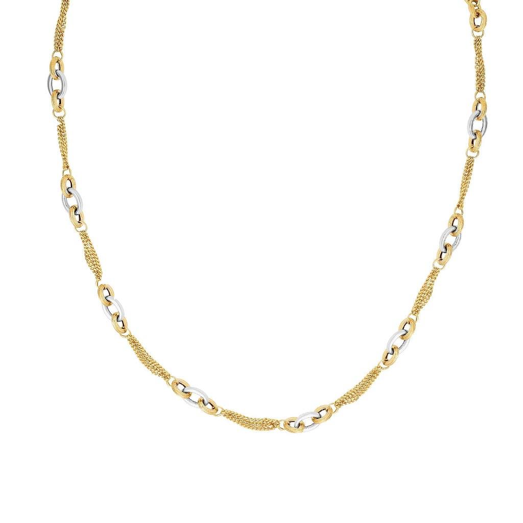 Gold Oval Link and Gourmette Chain Necklace
