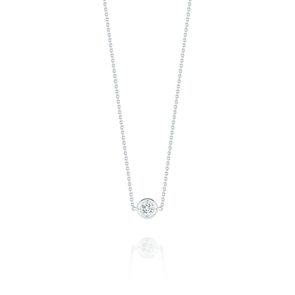 Bezel Set Diamond White Gold Necklace