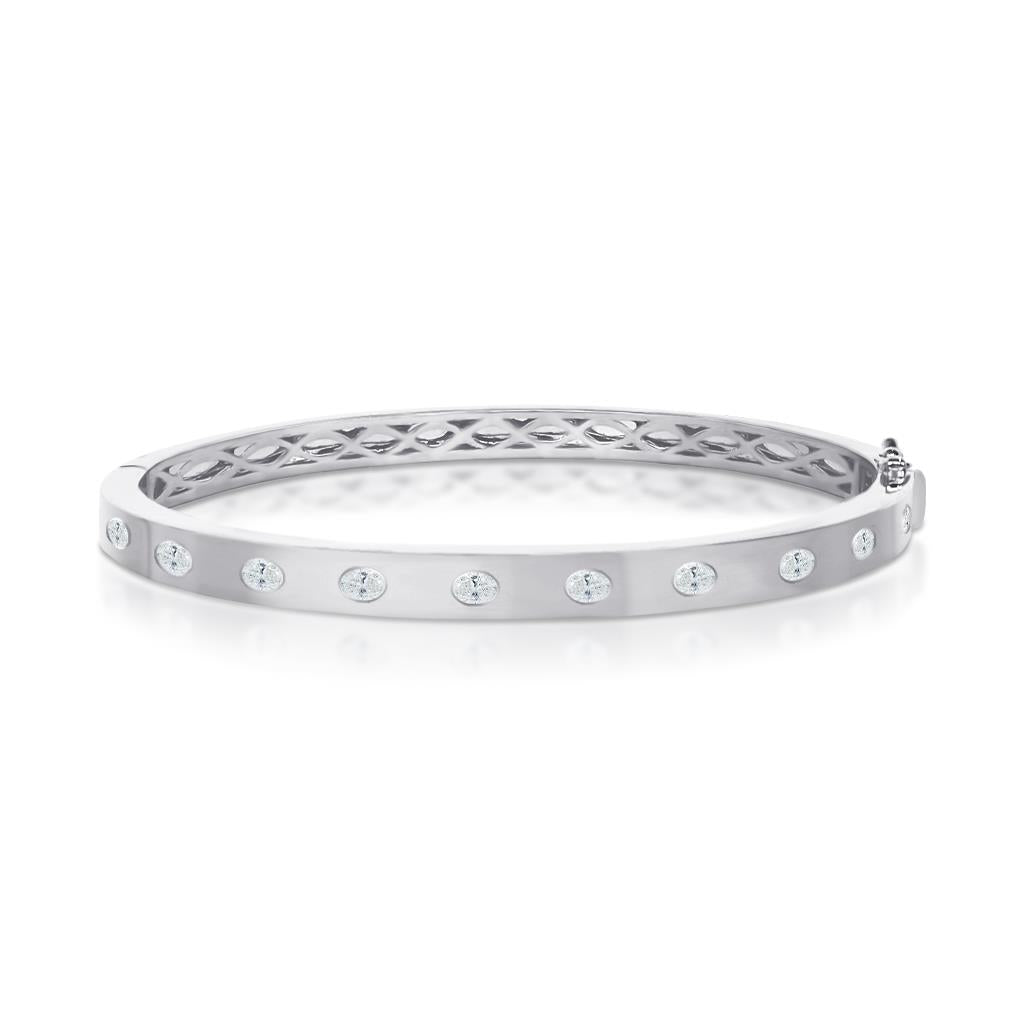 Oval Diamonds Bezel Set White Gold Bangle Bracelet