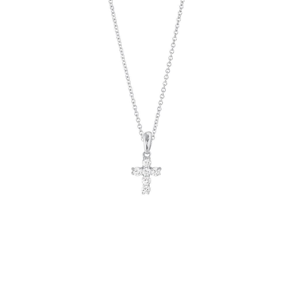 White Gold Mini Diamond Cross Necklace Pendant