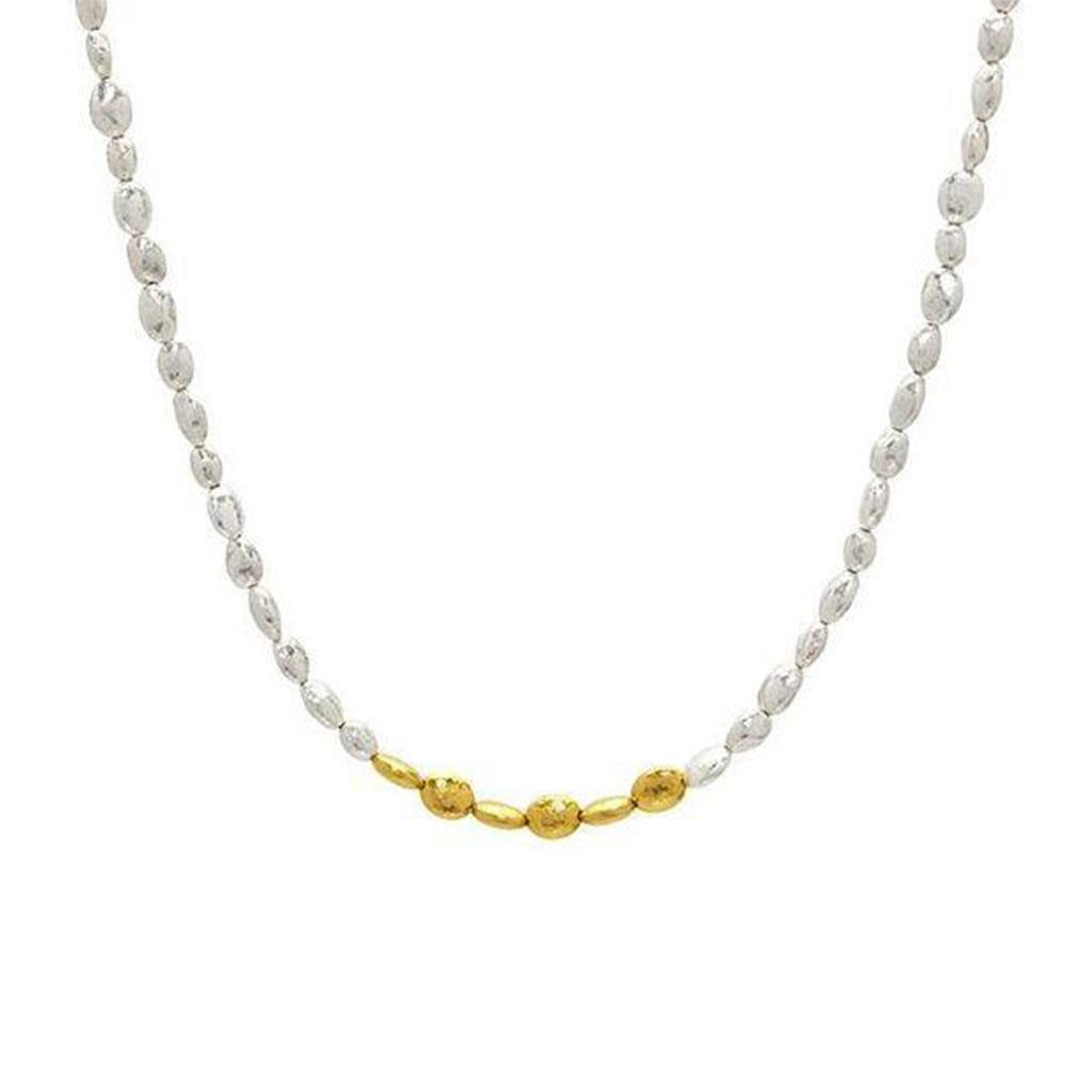 Gurhan nugget two tone strand necklace