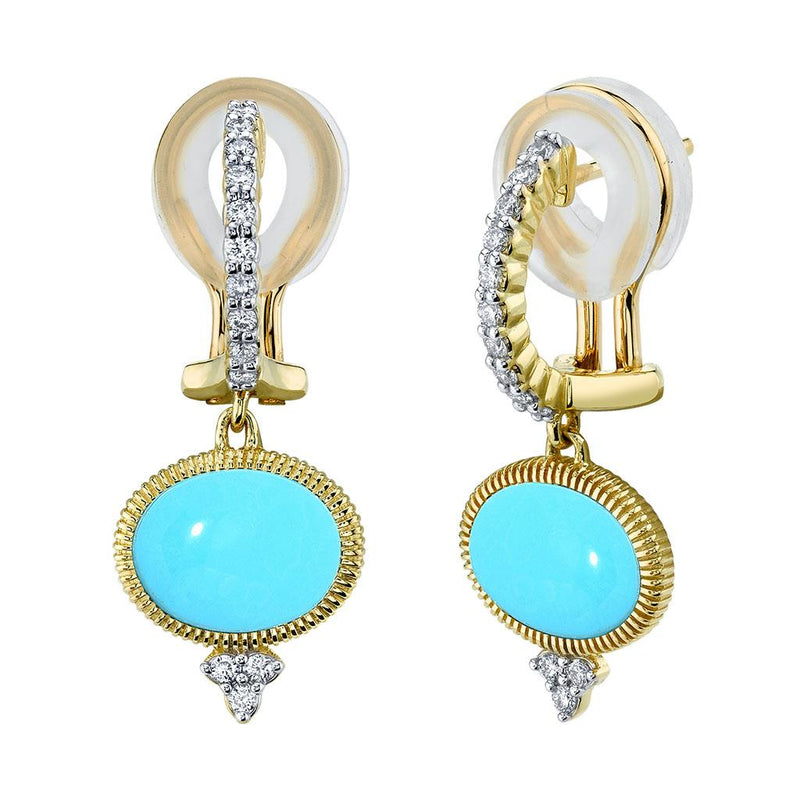 Turquoise & Diamond Drop Earrings