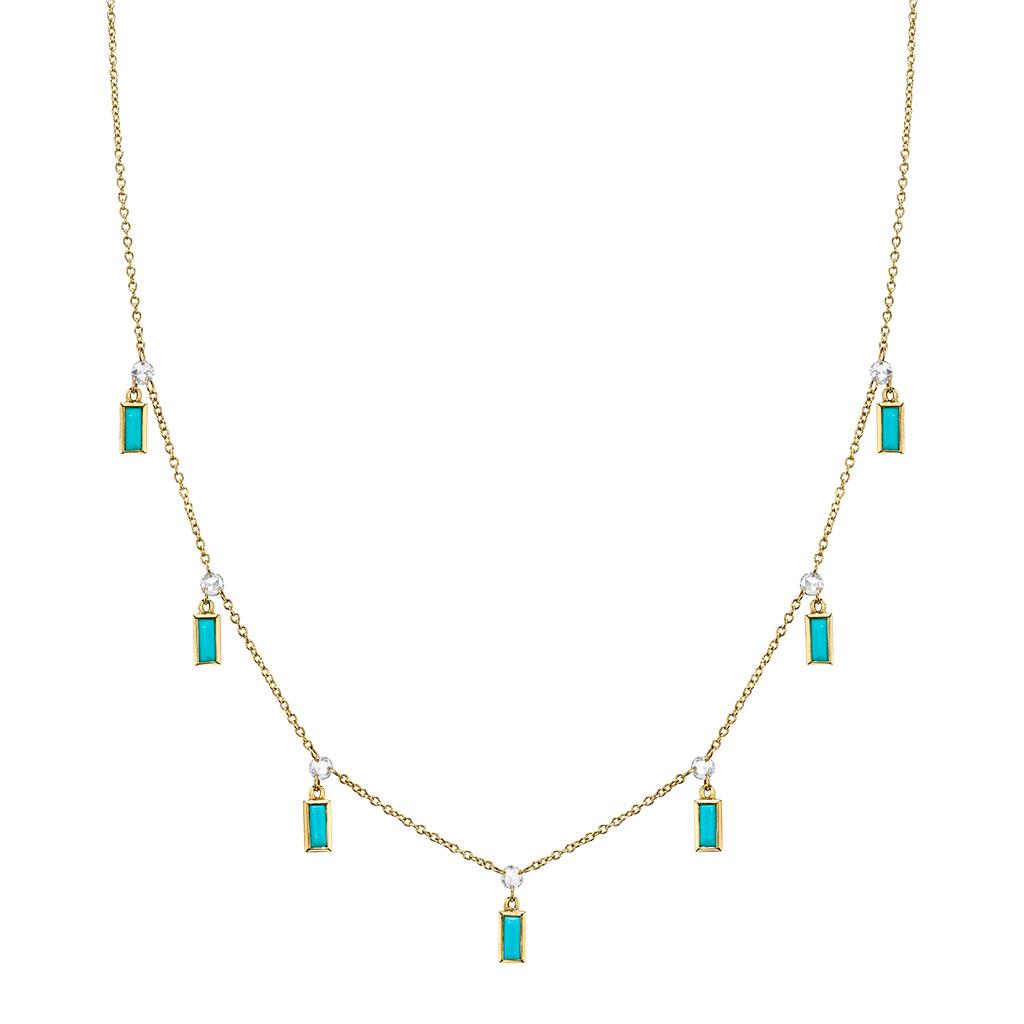 Diamond & Turquoise Dangle Necklace in Yellow Gold
