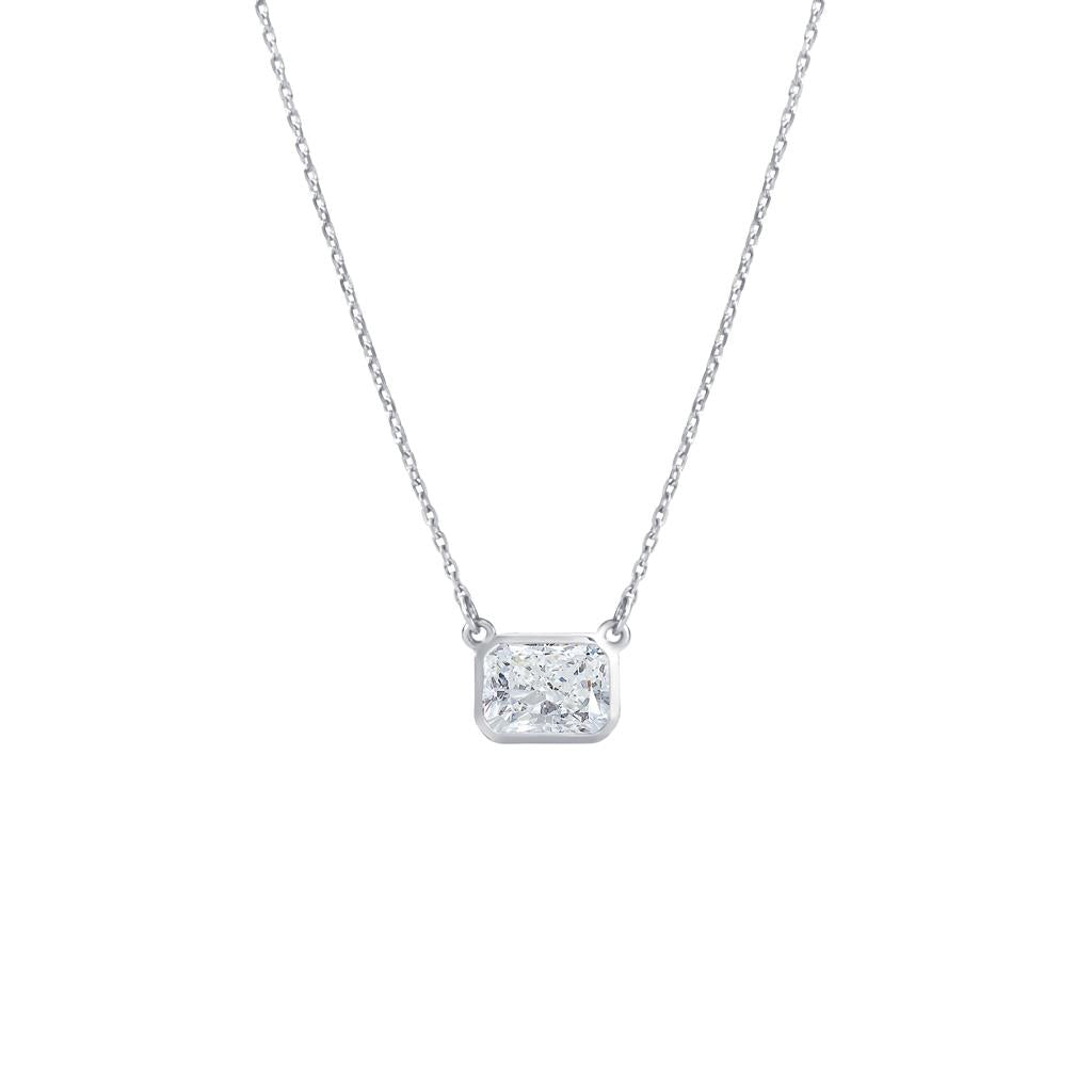 Radiant Cut Diamond Bezel Set White gold