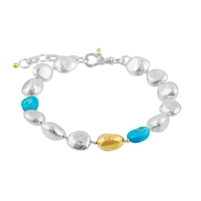 Sterling silver, turquoise, and 24k gold overlay bead bracelet
