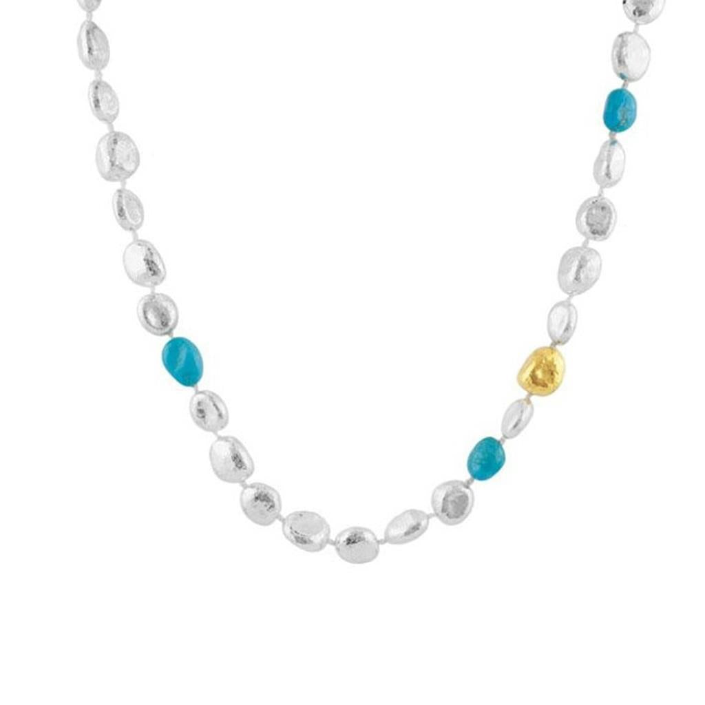 Sterling silver and turquoise bead necklace