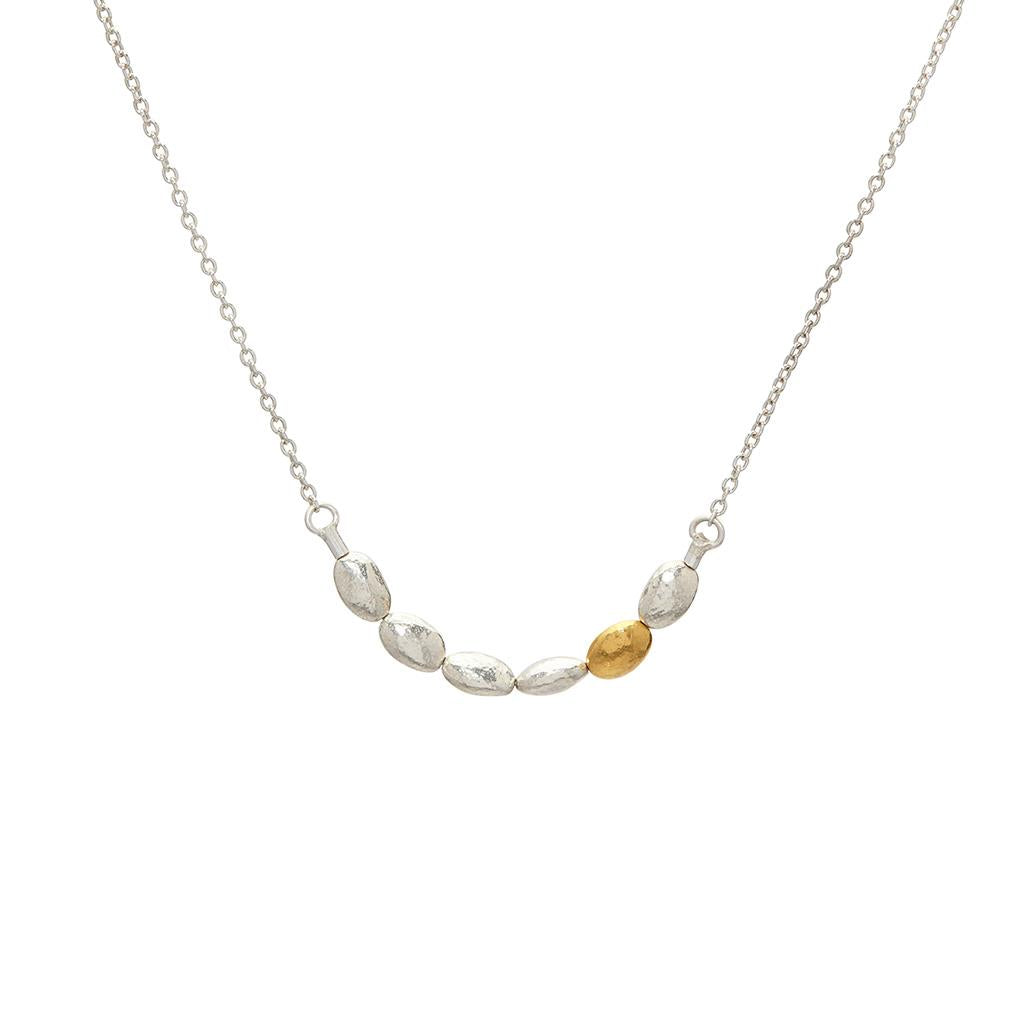 Sterling silver and gold nugget gurhan necklace