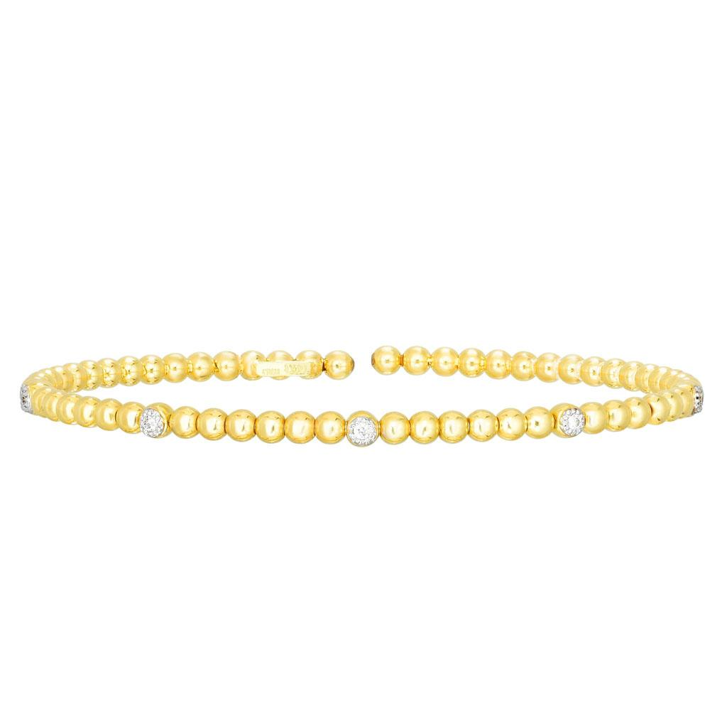 Yellow Gold and Diamond Thin Cuff Bracelet