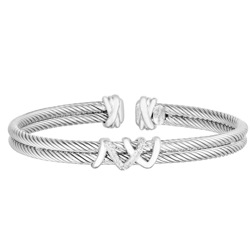 Double Sterling Silver Italian Cable Diamond Twine Detail