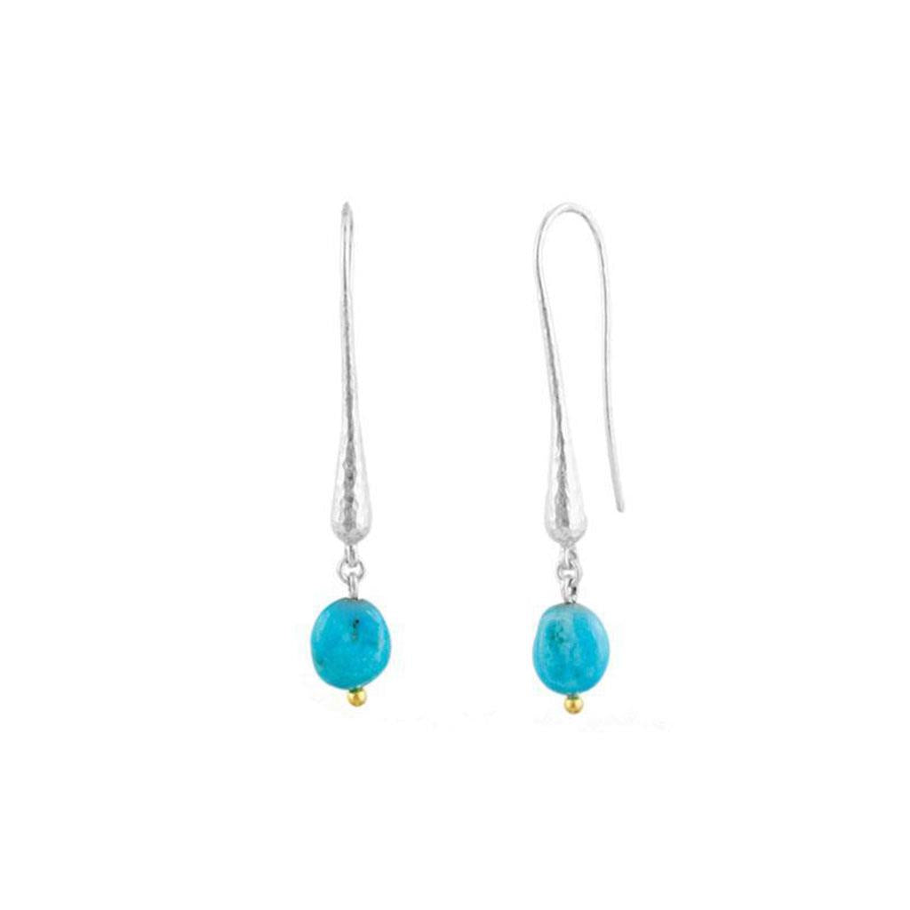 Turquoise and Silver Elongated Drop Gurhan Earrings