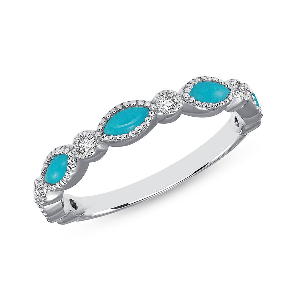 Marquise Turquoise & Diamond Milgrain White Gold Ring