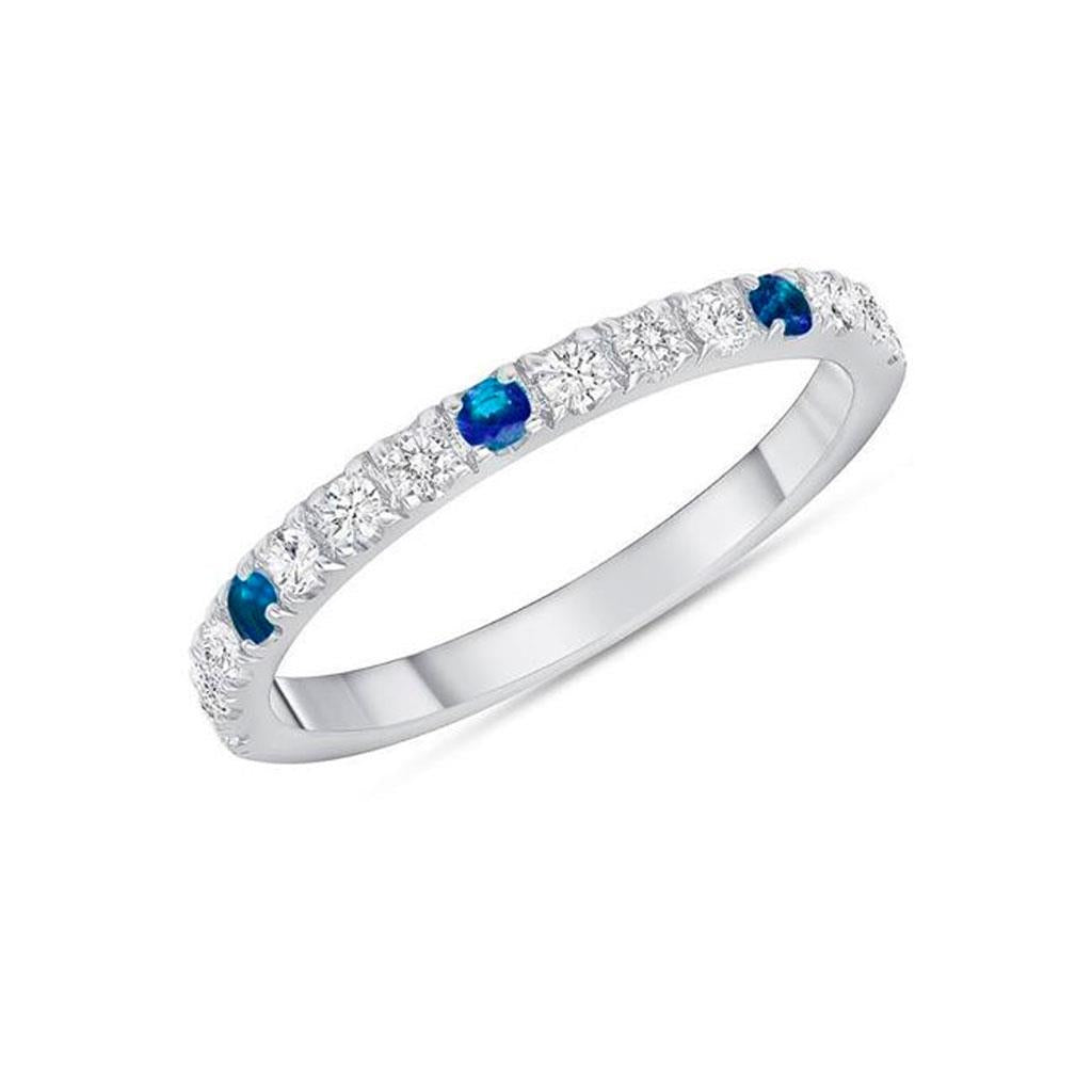 Diamond and blue sapphire white gold band