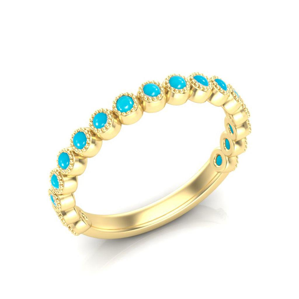 Turquoise Milgrain Bezel 14k Yellow Gold Band Ring