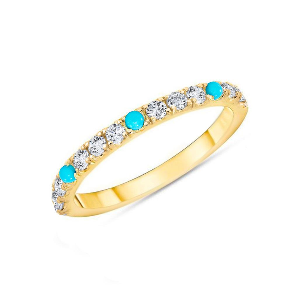 Diamond & Turquoise 14k Yellow Gold Stackable Ring Band