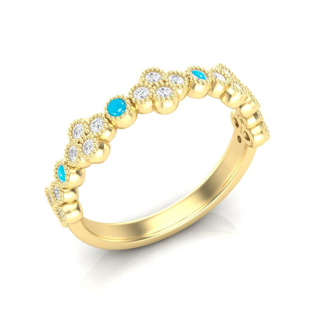 Diamond & Turquoise Clover 14k Yellow Gold Ring