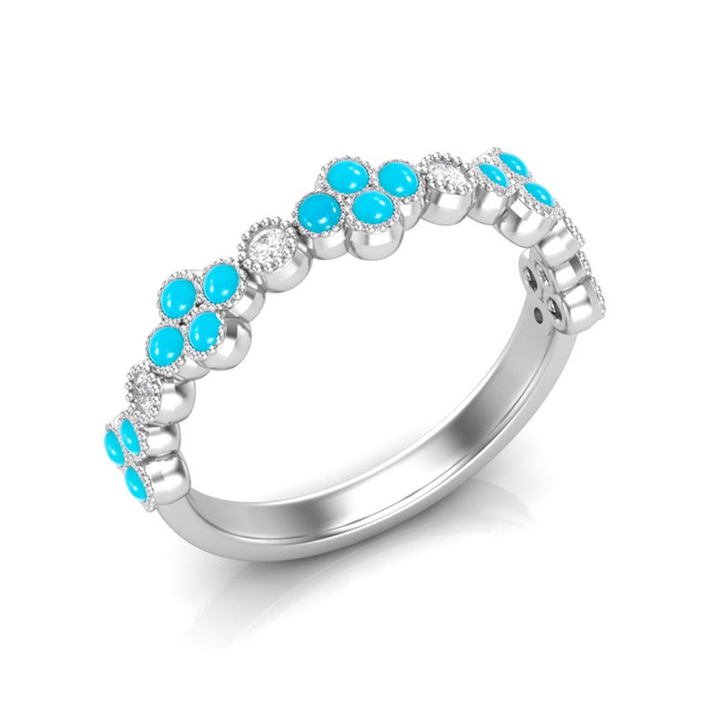 Clover Turquoise and Diamond White Gold Milgrain ring