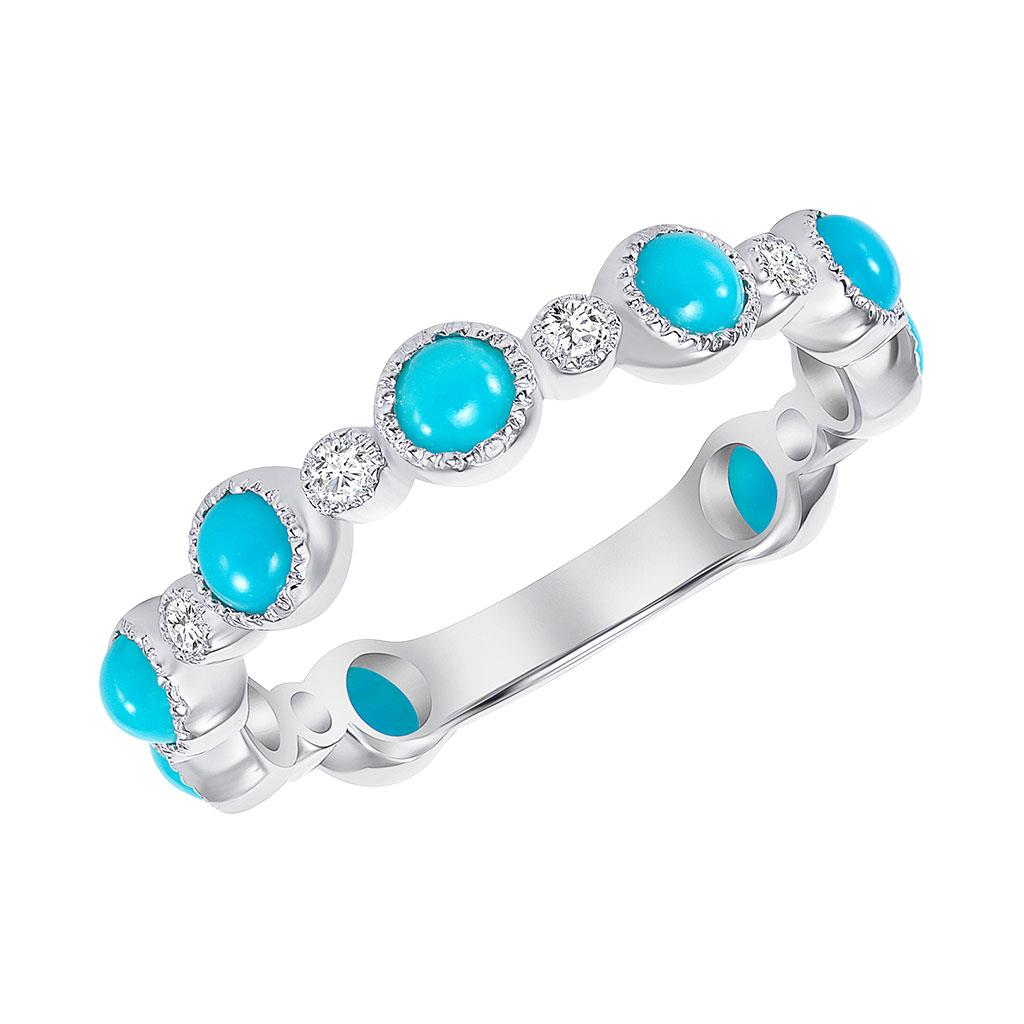 Turquoise & Diamond Alternating Size Milgrain Bezel Ring Band