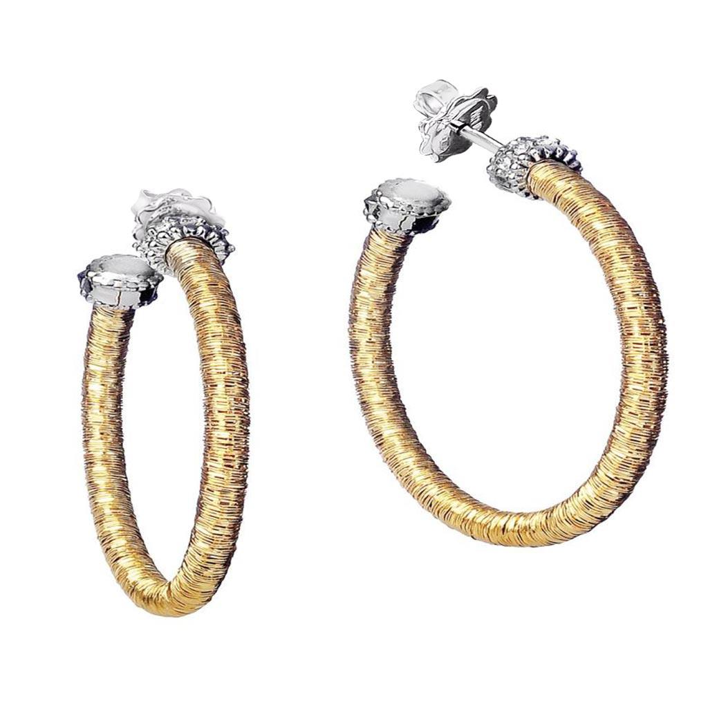 18k yellow gold hoop earrings with diamond details