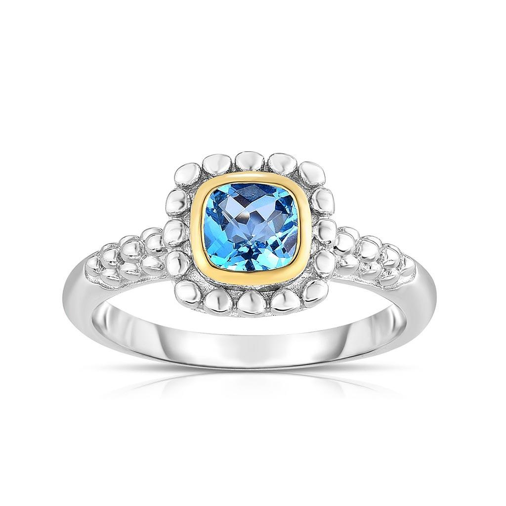 sterling silver and yellow gold square blue topaz ring