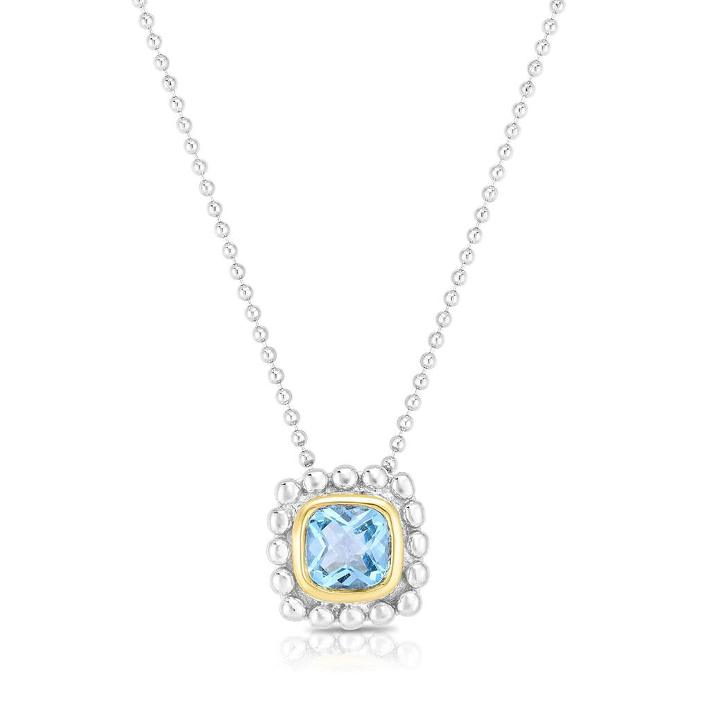 Cushion blue topaz gold and sterling silver pendant