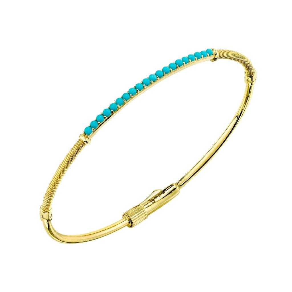 Turquoise and yellow gold bangle bracelet